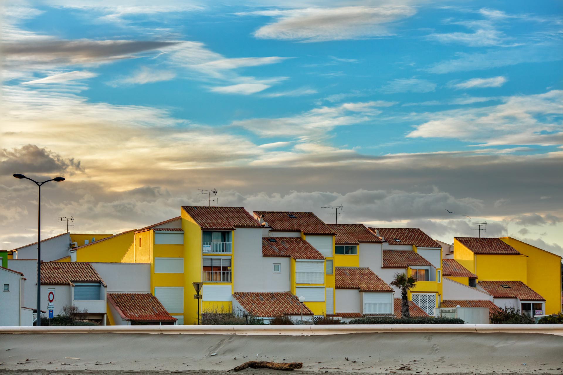 View on houses at the Beach at Southern France