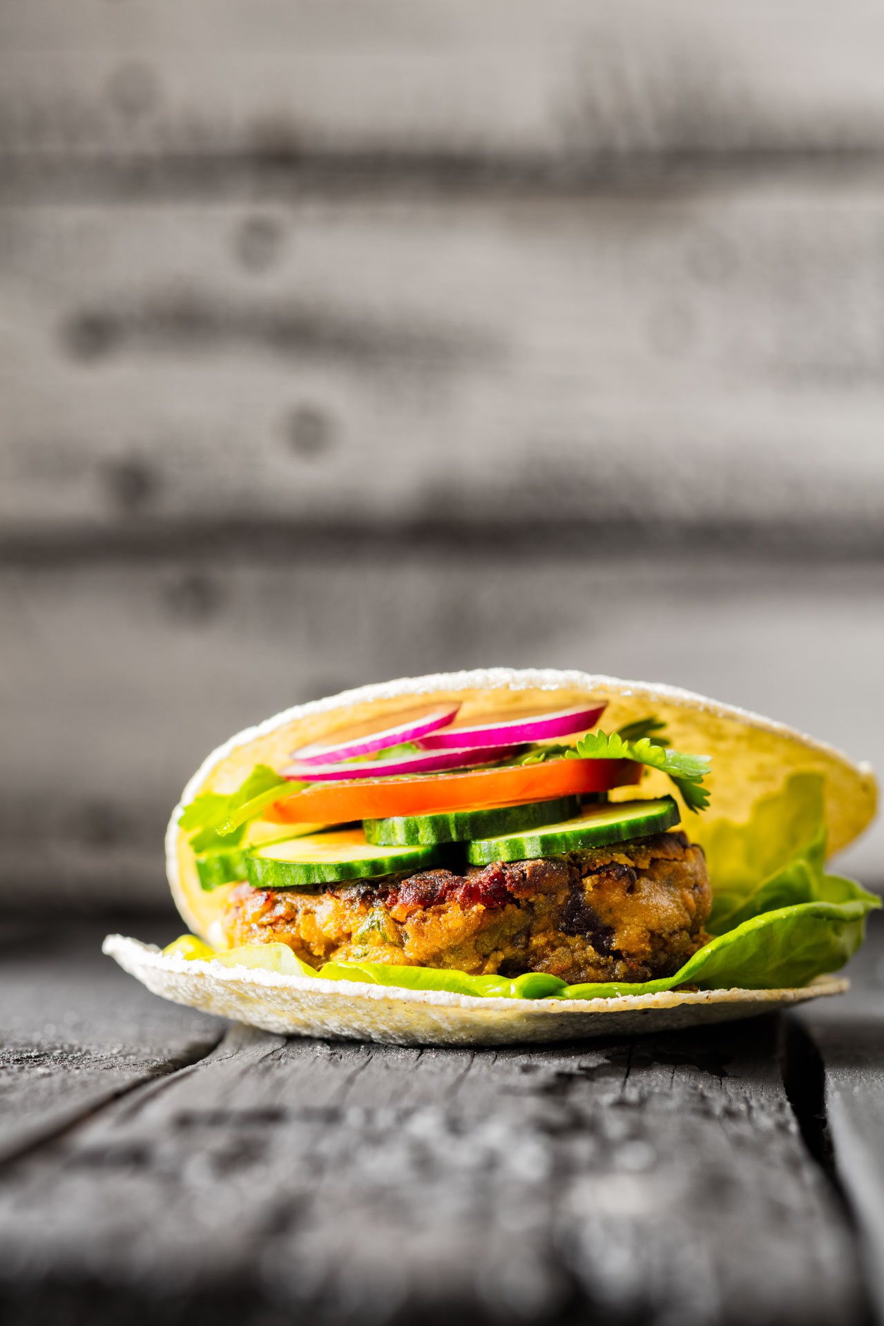 Ready Vegan Burger with corn