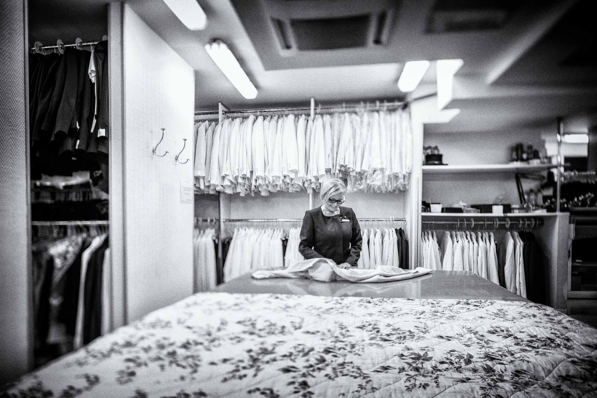 Dressmaker working in the Hotel Le Bristol Paris