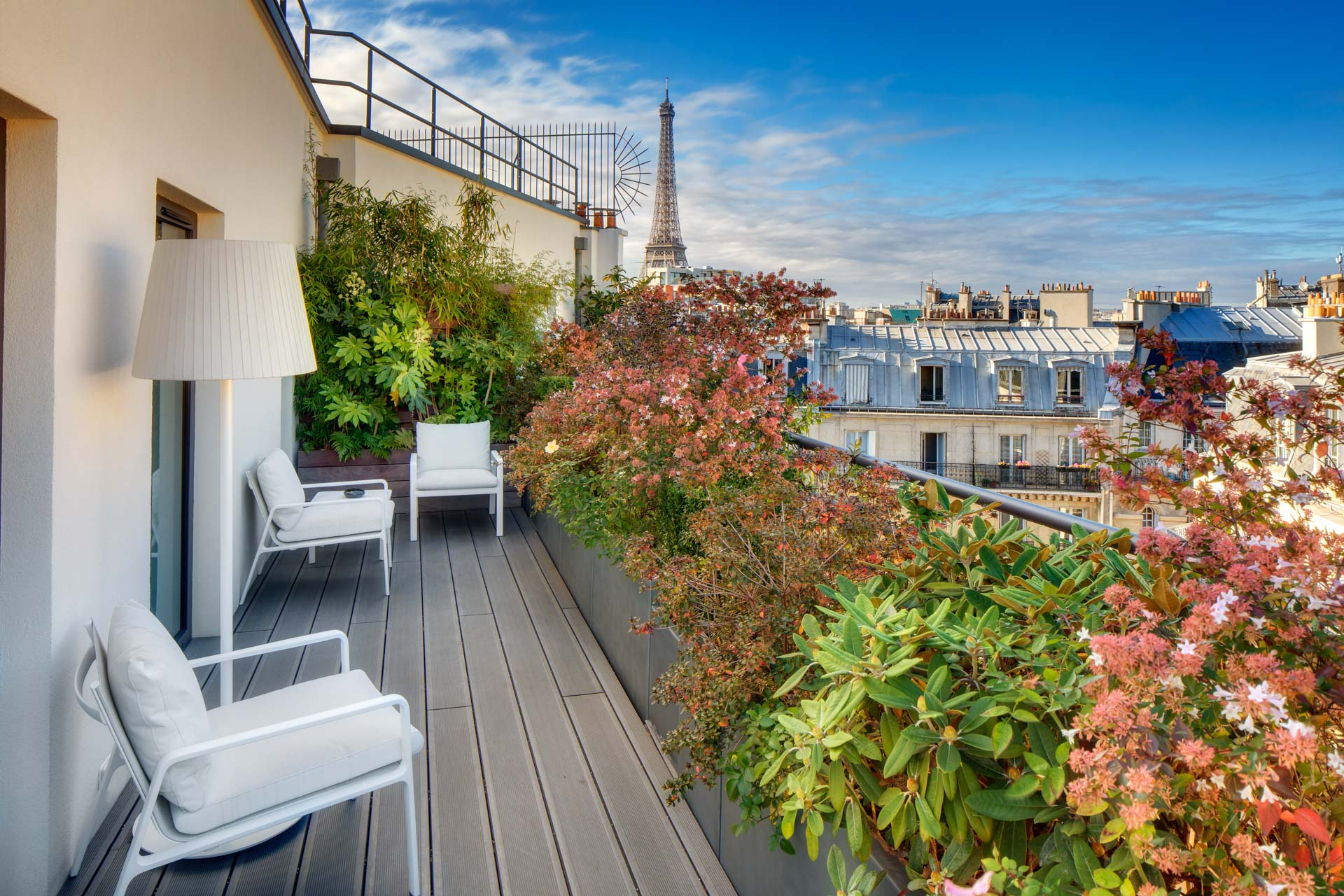 Terrace at the Hotel Le Cinque Codet Paris with the view on the Eiffel Tower