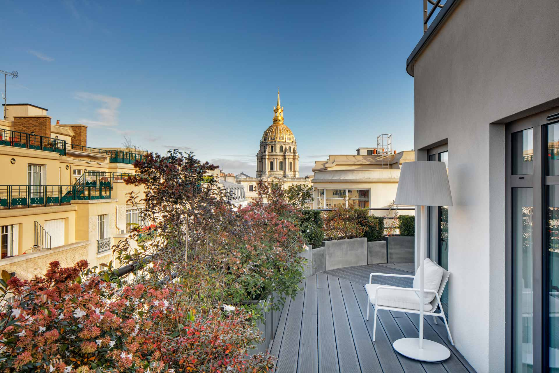 Terrace at the Hotel Le Cinque Codet Paris with the view on the Dom des Invalides