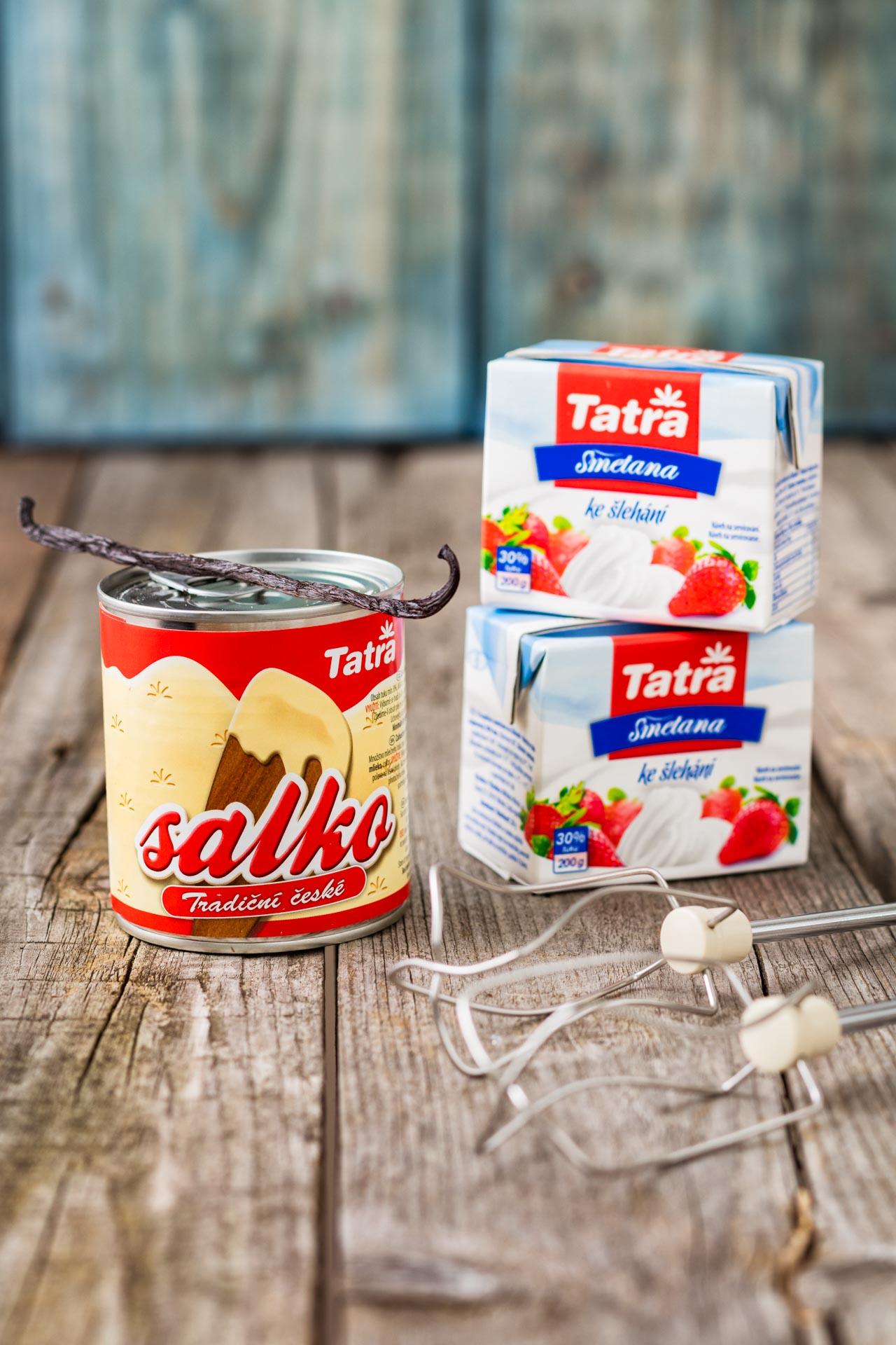 Ingredients for Vanilla ice recipe, tatra salko and cream