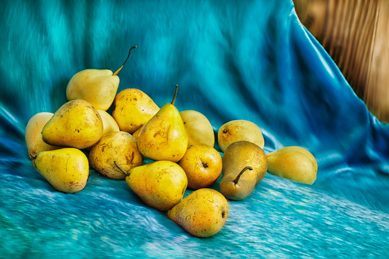 Still life with pears inspired by Van Gogh