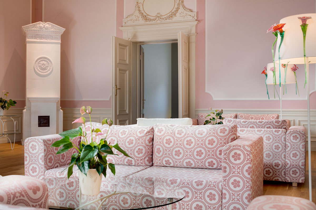 Pink salon at Chateau Herálec Boutique Hotel & Spa by L'occitane