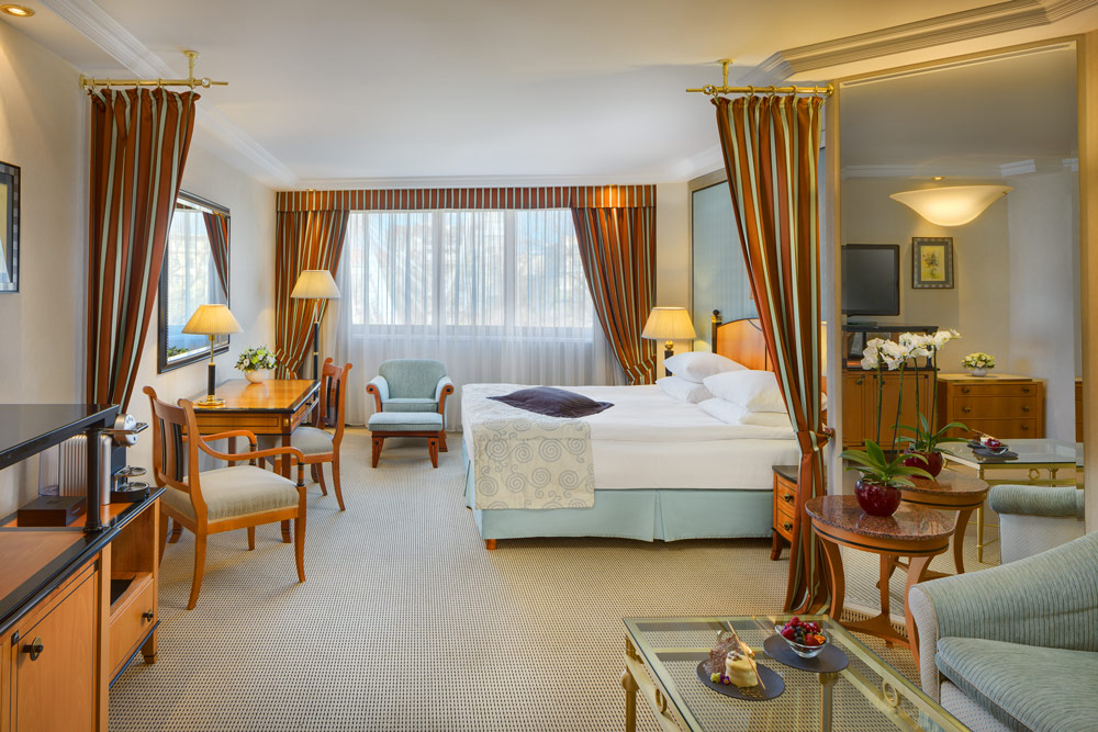 Junior suite at the Kempinski Hotel Corvinus, Budapest