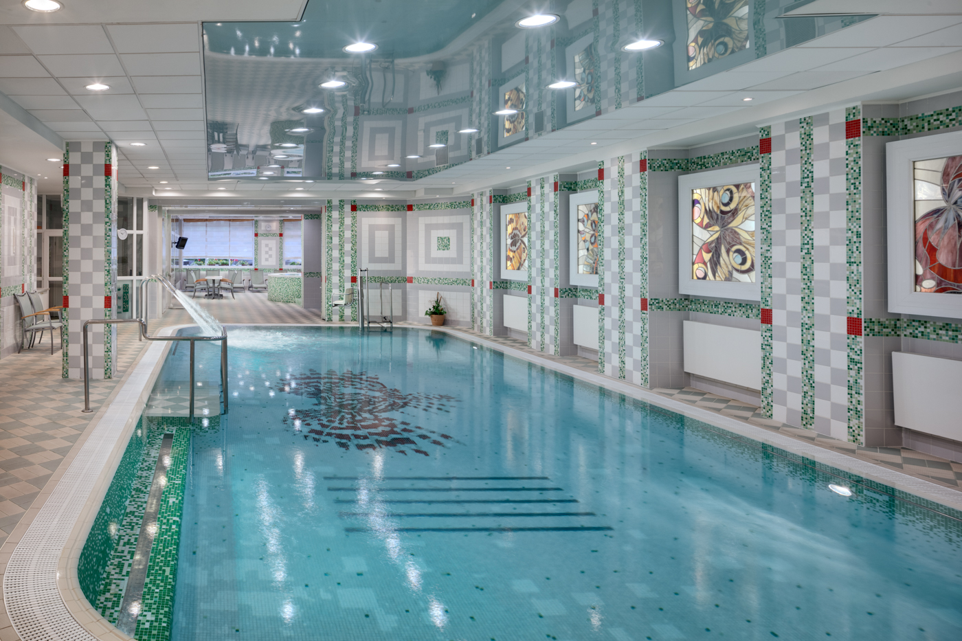 Interior of the swimmingpool of hotel Butterfly at Ensana Health Spa Resort in Marianske Lazne