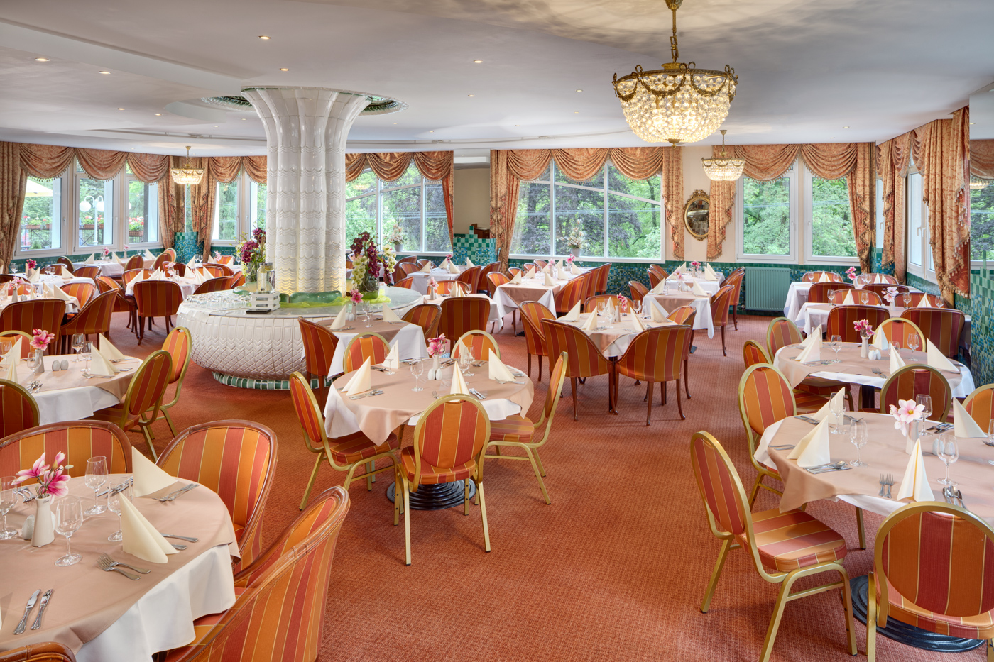 Interior of the restaurant of hotel Butterfly at Ensana Health Spa Resort in Marianske Lazne